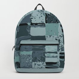 Modern Linear Ocean Sky Blue Squares Fusion Tailored Opulant Architectural Elegant Custom Backpack