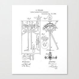 Power Transmitting Machinery Vintage Patent Hand Drawing Canvas Print
