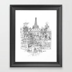 Paris B&W (Dark T-shirt version) Framed Art Print