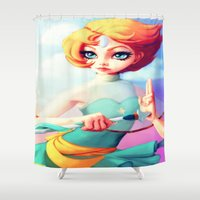 steven universe Shower Curtains featuring Steven Universe Pearl by RSArts
