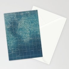 Grunge World Map Stationery Cards