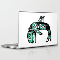 native american Laptop & iPad Skins featuring Native American Orca by Steven Womack