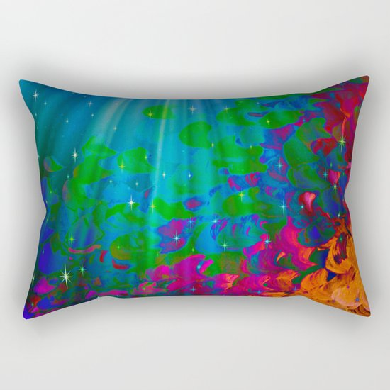 UNDER THE SEA Bold Colorful Abstract Acrylic Painting Mermaid Ocean Waves Splash Water Rainbow Ombre Rectangular Pillow