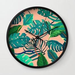 Summer Tropical Leaves Wall Clock