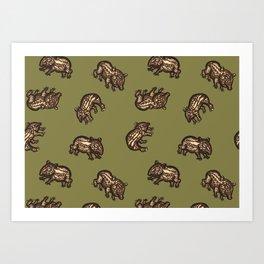 Baby Malayan tapir Art Print