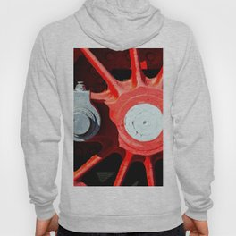 Grunge Red Wheel And White Driving Rod Of A Vintage Steam Engine Locomotive Hoody