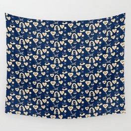 aspri petra white stone heart blue Wall Tapestry