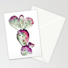 Purple and Green Cactus Stationery Cards