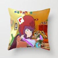 """magneto Throw Pillows featuring """" Mini Magneto """" by Funki monkey animation studio"""