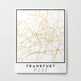 FRANKFURT GERMANY CITY STREET MAP ART Metal Print