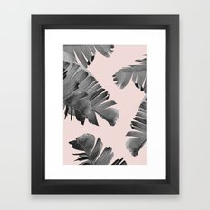 Black and pink palm leaves Framed Art Print