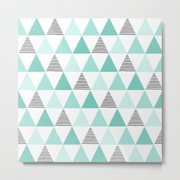Black Stripes and Mint Triangles Metal Print