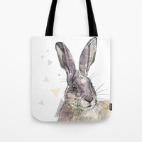 hare Tote Bags featuring Hare by Anya Raczka