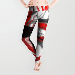 red black grey silver white bamboo abstract digital painting Leggings