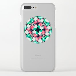 Celebration of Confetti & Streamers - a white, navy, emerald green & melon abstract Clear iPhone Case