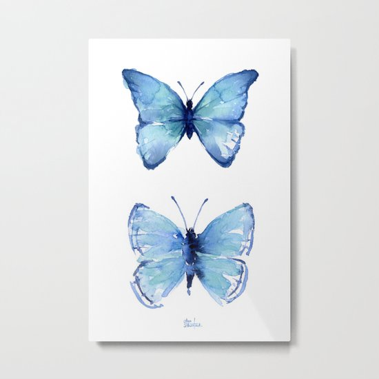 Two Blue Butterflies Watercolor Animals Insects Metal Print