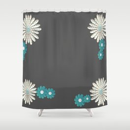 Gray,blue flowers Shower Curtain