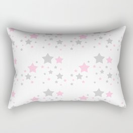 Pink Grey Gray Stars Rectangular Pillow