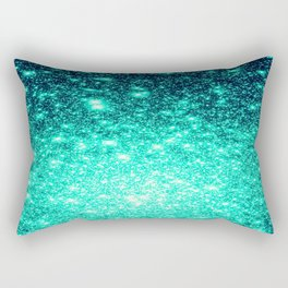 Stars Ombre Cool Aqua & Teal Rectangular Pillow