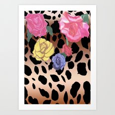 Gradient Leopard and Roses Art Print