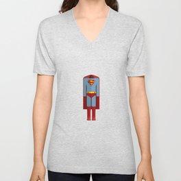 American Superhero Character Costume Minimal Sticker Unisex V-Neck