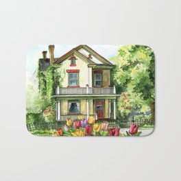 Farmhouse with Spring Tulips Bath Mat