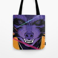 rocket raccoon Tote Bags featuring Rocket Raccoon Guardians of the galaxy by W.B.