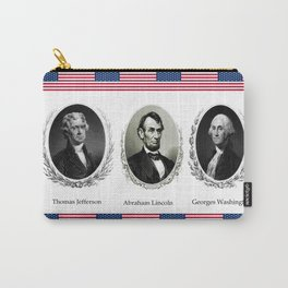 Three patriotic portraits of three great presidents :lincol,washington and jefferson Carry-All Pouch