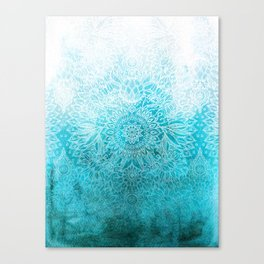 Fade to Teal - watercolor + doodle Canvas Print