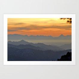 Mountains. Foggy sunset Art Print