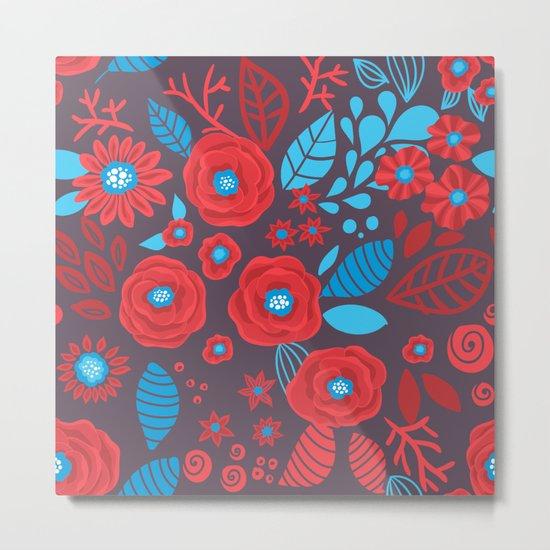Doodle floral pattern Metal Print