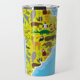 South America sloth anteater toucan lama armadillo boa manatee monkey dolphin Maned wolf raccoon Travel Mug