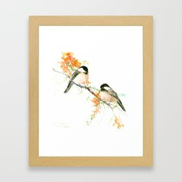Chickadees and Orange Flowers Framed Art Print