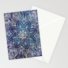 Pearl Mandala on Navy Blue Stationery Cards