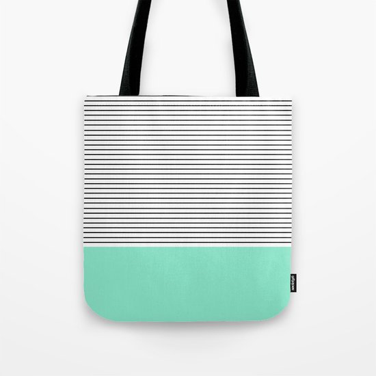 Minimal Mint Stripes Tote Bag