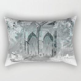 City Art Brooklyn Bridge in Detail | turquoise Rectangular Pillow