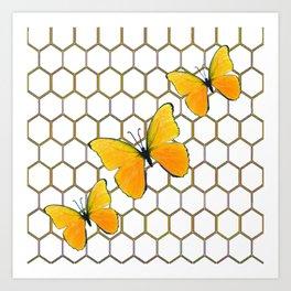 YELLOW BUTTERFLIES ON WHITE HONEY COMB PATTERN Art Print