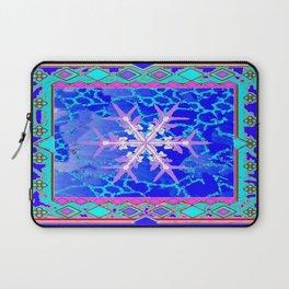 Blue Frozen Snowflake Abstract Art Laptop Sleeve
