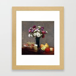 Henri Fantin-Latour Asters and Fruit on a Table Framed Art Print