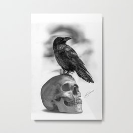 The Raven and The Skull - By Julio Lucas Metal Print