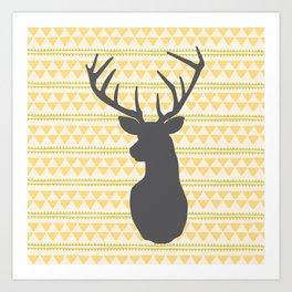 Deer on triangle wallpaper Art Print