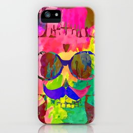 old vintage funny skull art portrait with painting abstract background in red pink yellow green blue iPhone Case