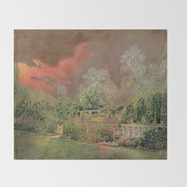 English Garden Sunset Throw Blanket