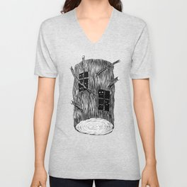 Mysterious Forest Creatures In Tree Log Unisex V-Neck