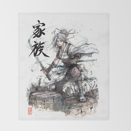 Samurai Girl with Japanese Calligraphy - Family - Ciri Parody Throw Blanket