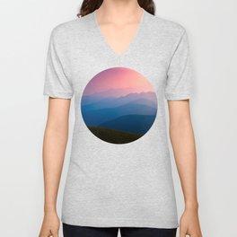 Blue Purple & Pink Mountains Sunset Silhouette Unisex V-Neck