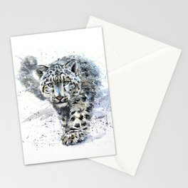 Watercolor Snow Leopard Stationery Cards