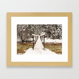 Pericnik Falls Snowy Bridge Framed Art Print
