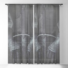 Old silver armor Sheer Curtain