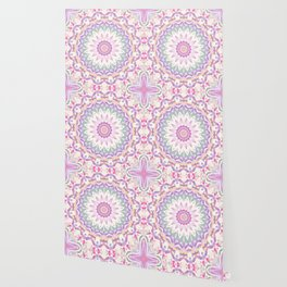 Calypso Mandala in Pastel Pink, Purple, Green, and White Wallpaper